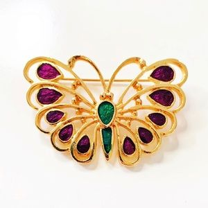 Vintage || Gold Tone Butterfly Brooch